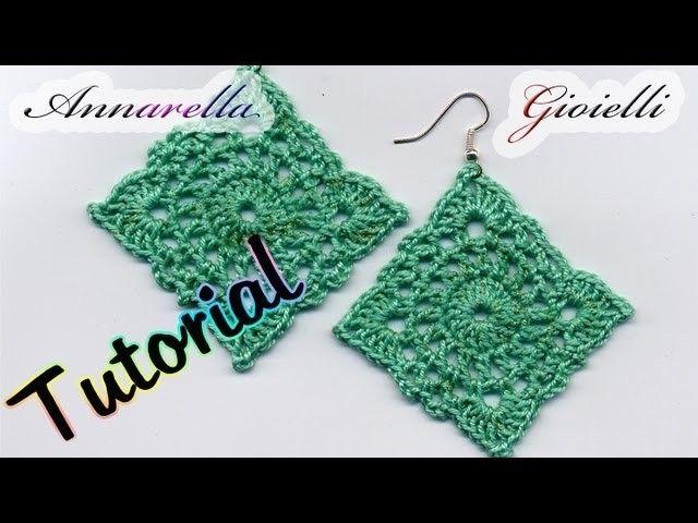 Tutorial Orecchini Uncinetto Square Crochet Crochet Earrings
