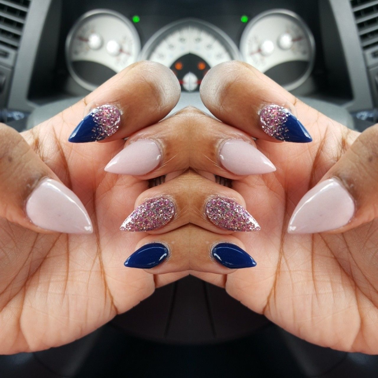 Navy Blue And Pink Glitter Ombre Nails Blue Ombre Nails Ombre Nails Pink Ombre Nails