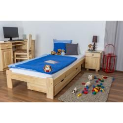 Photo of Children's bed / youth bed pine solid wood natural A10, incl. Slatted frame – dimensions 90 x 200 cm S