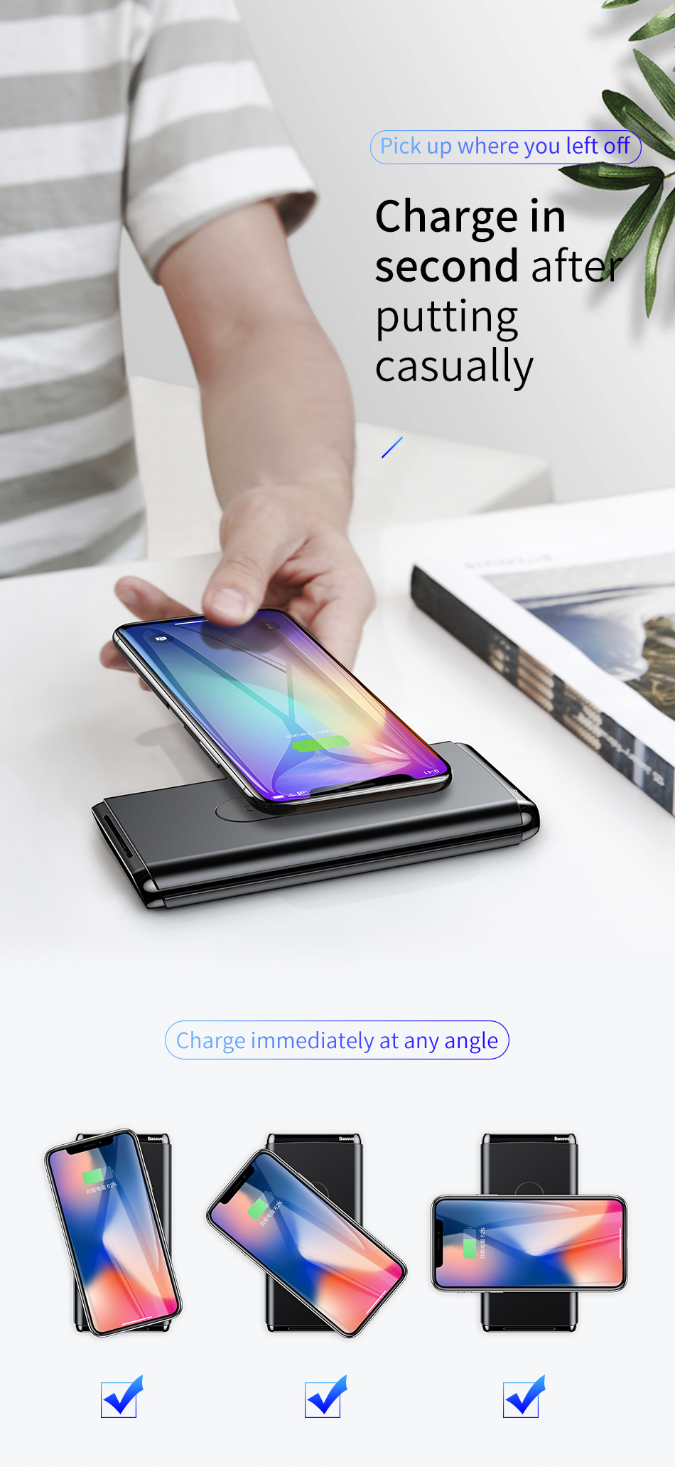 Baseus 10000mAh QI Wireless Charger Power Bank For iPhone