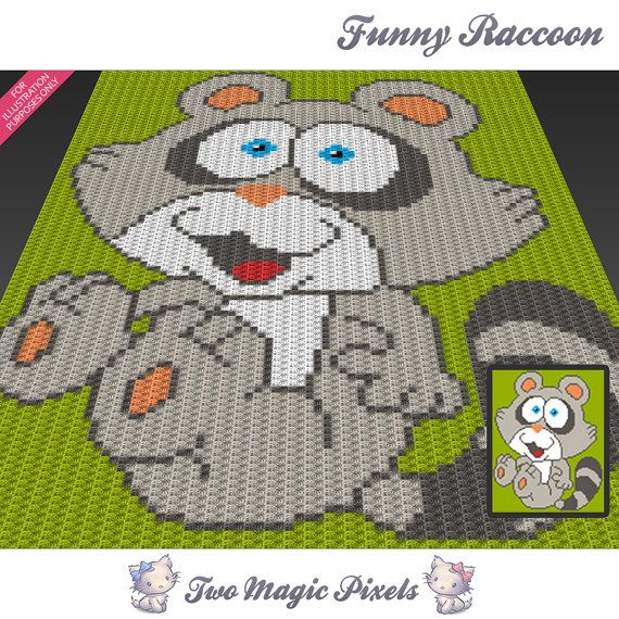 Funny Raccoon C2c Graph Crochet Pattern Instant Pdf Download Baby