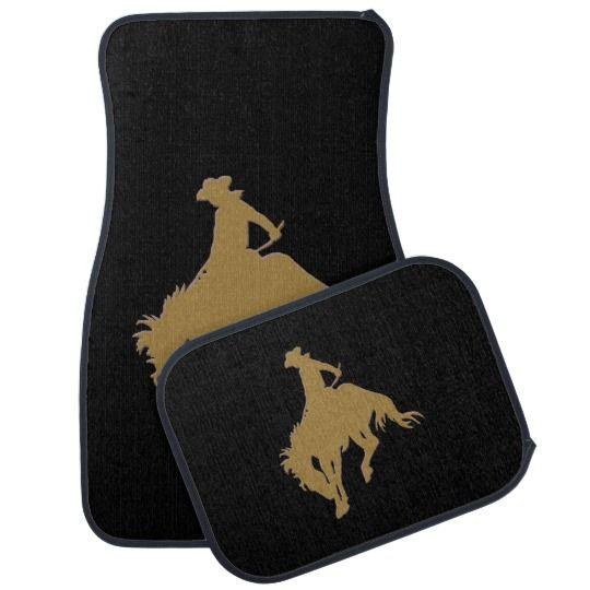 Black Gold Cowboy Bucking Horse Car Floor Mat Zazzle Com Cute Car Accessories Car Floor Mats Car Mats