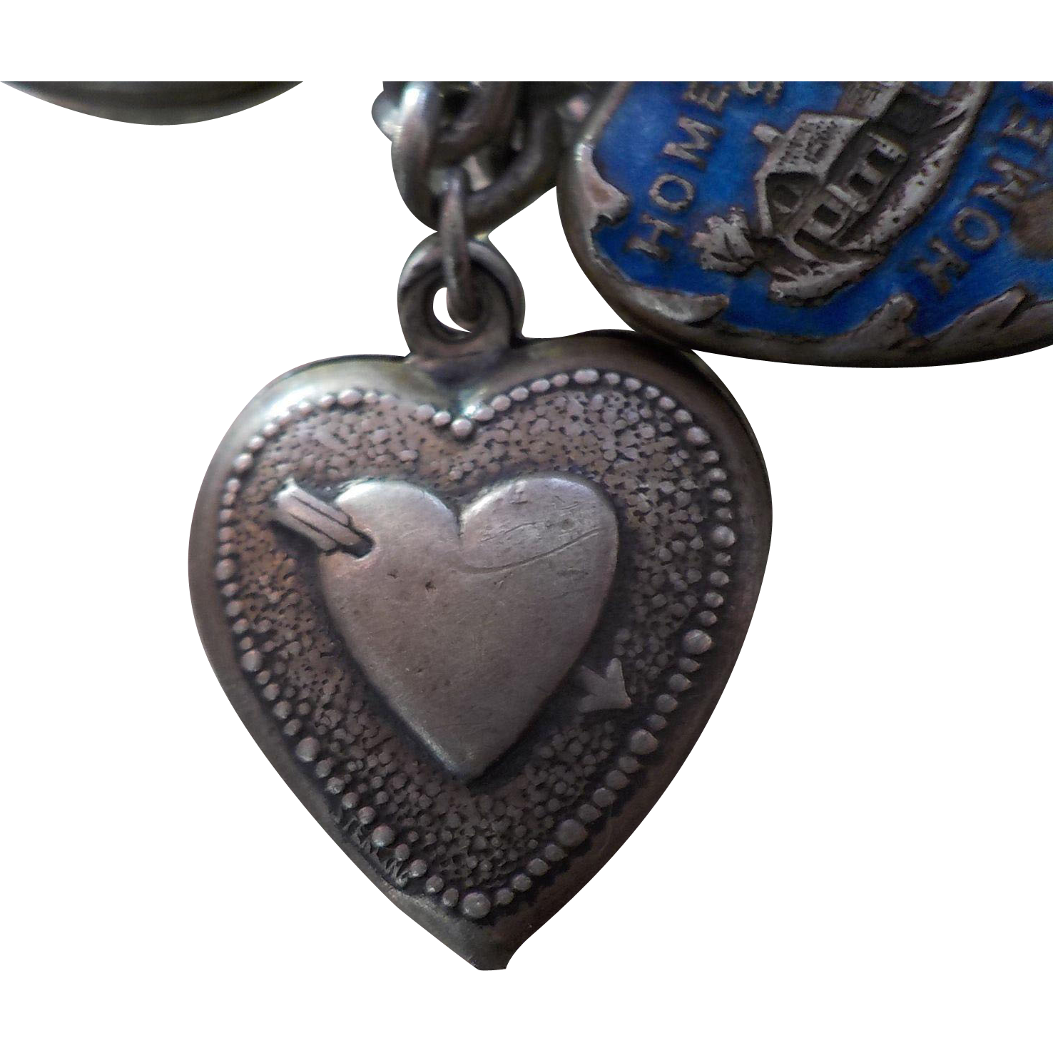 Antique Sterling Silver Repousse Heart And Arrow Double Sided Gladys Puffy Heart Charm Puffy Heart Charms Heart With Arrow Antique Jewelry