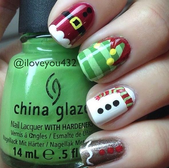 Festive Nail Art Designs for the Holidays | Uñas lindas, Manicure ...