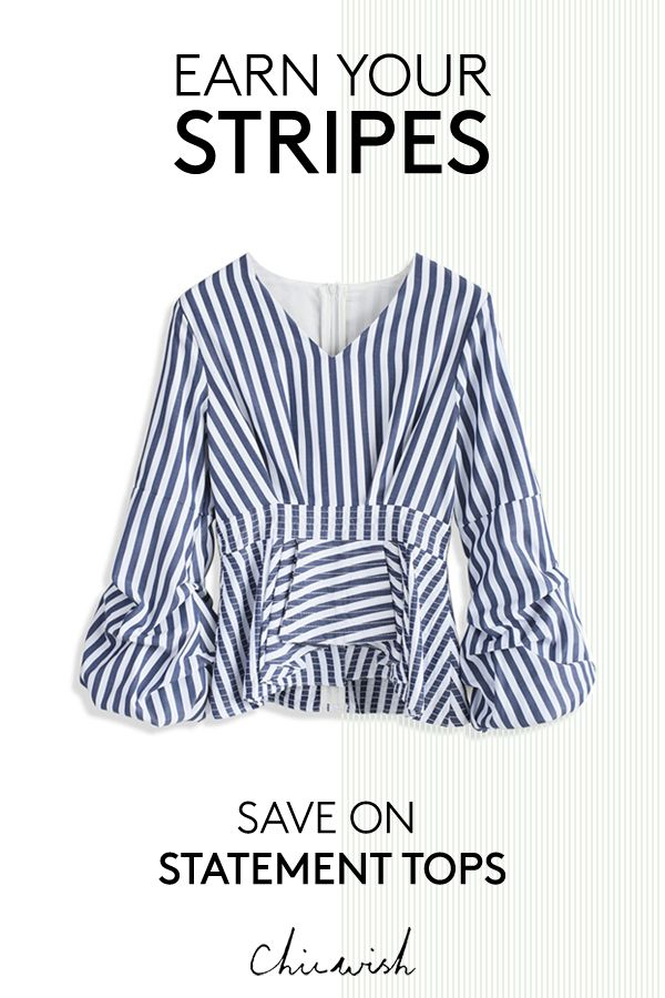 Need a fun blouse with a chic story to tell? This blue striped page top with its ruched balloon sleeves is a real page turner.