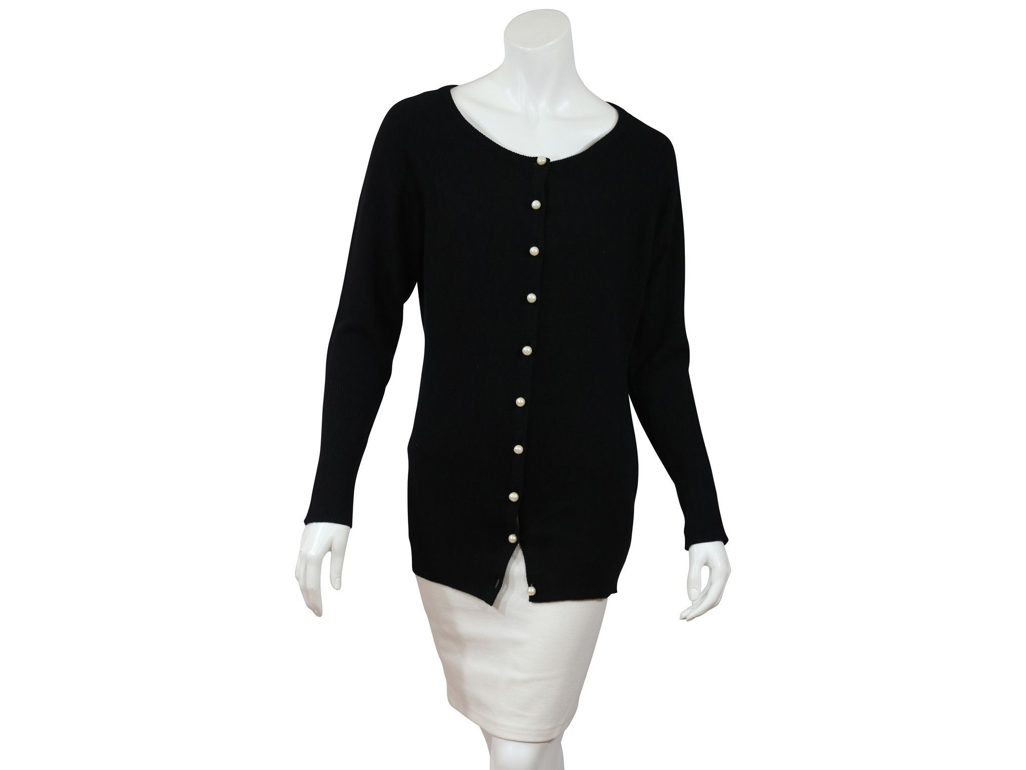 Chanel Black Cashmere Cardigan with Pearl Buttons | Cardigans For ...