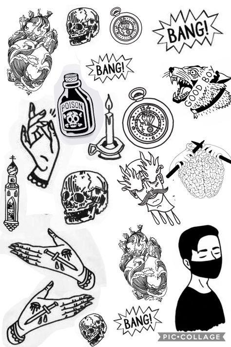 Edgy Tattoo Designs : tattoo, designs, Trendy, Ideas, Drawing, Tattoo, Doodle, Tattoo,, Flash, Sheet