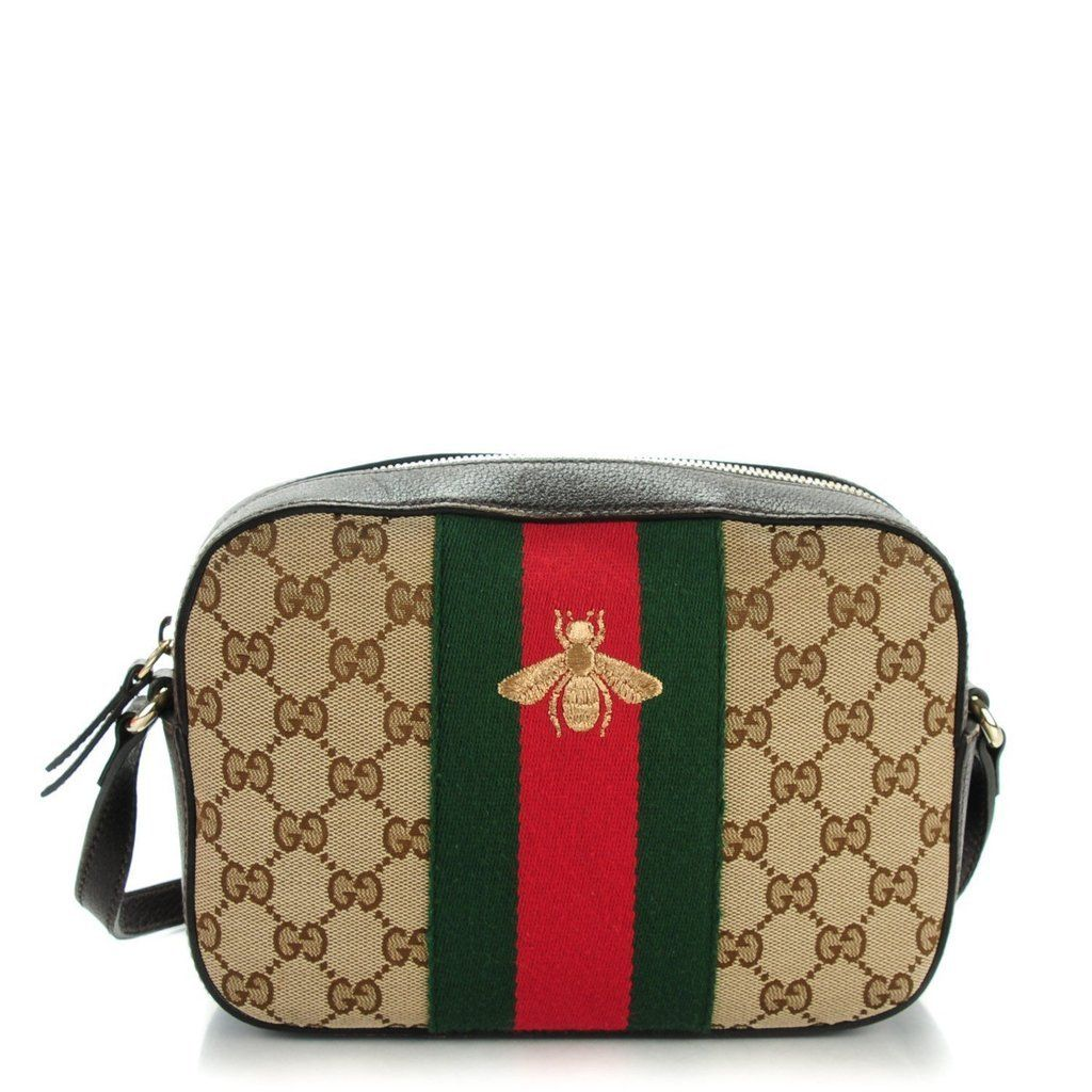 ef28e2185b93 GUCCI Monogram Web Small Webby Bee Shoulder Bag Dark Brown. This stylish  crossbody is crafted