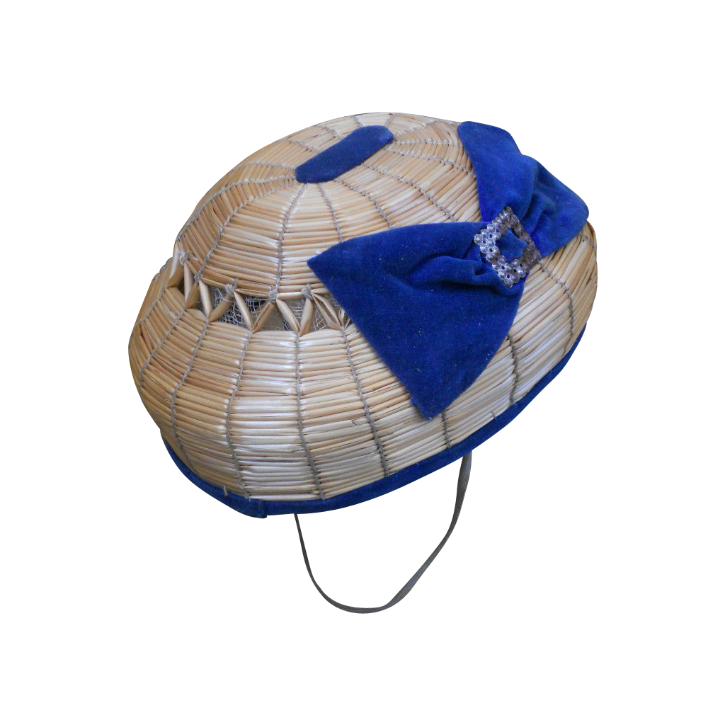 Rare to find all original antique bamboo  Bourrelet cap with Velvet decoration .... perfect cap for a French BeBe but looks nice also for German