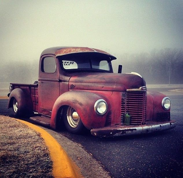 rat rod jalopy daily driver International Harvester IH pickup truck slammed  over chrome steel wheels and sporting a fixed windshield visor. 9886c818cb5
