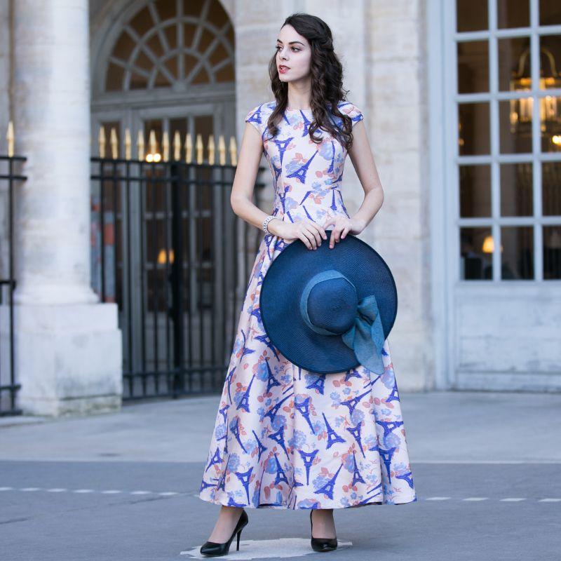 >> Click to Buy << 2017 summer jacquard one-piece dress women's fashion slim elegant sleeveless o-neck expansion bottom lady's full dress female #Affiliate