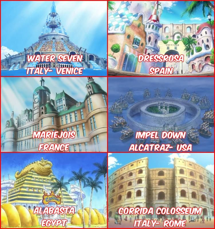 The Many Places Of The Anime Manga One Piece Are Based On Real Life Places The Same Thing Would Be The Region One Piece Anime Best Anime Shows One Piece Luffy