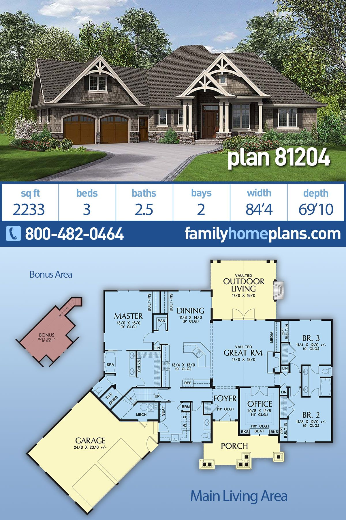 Craftsman Style House Plan 81204 With 3 Bed 3 Bath 2 Car Garage Craftsman Style House Plans Country Style House Plans Craftsman House