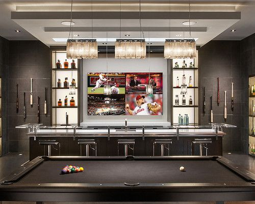 Residential bar with big screen TV, and pool table Men Cave - eklektik als lifestyle trend interieurdesign