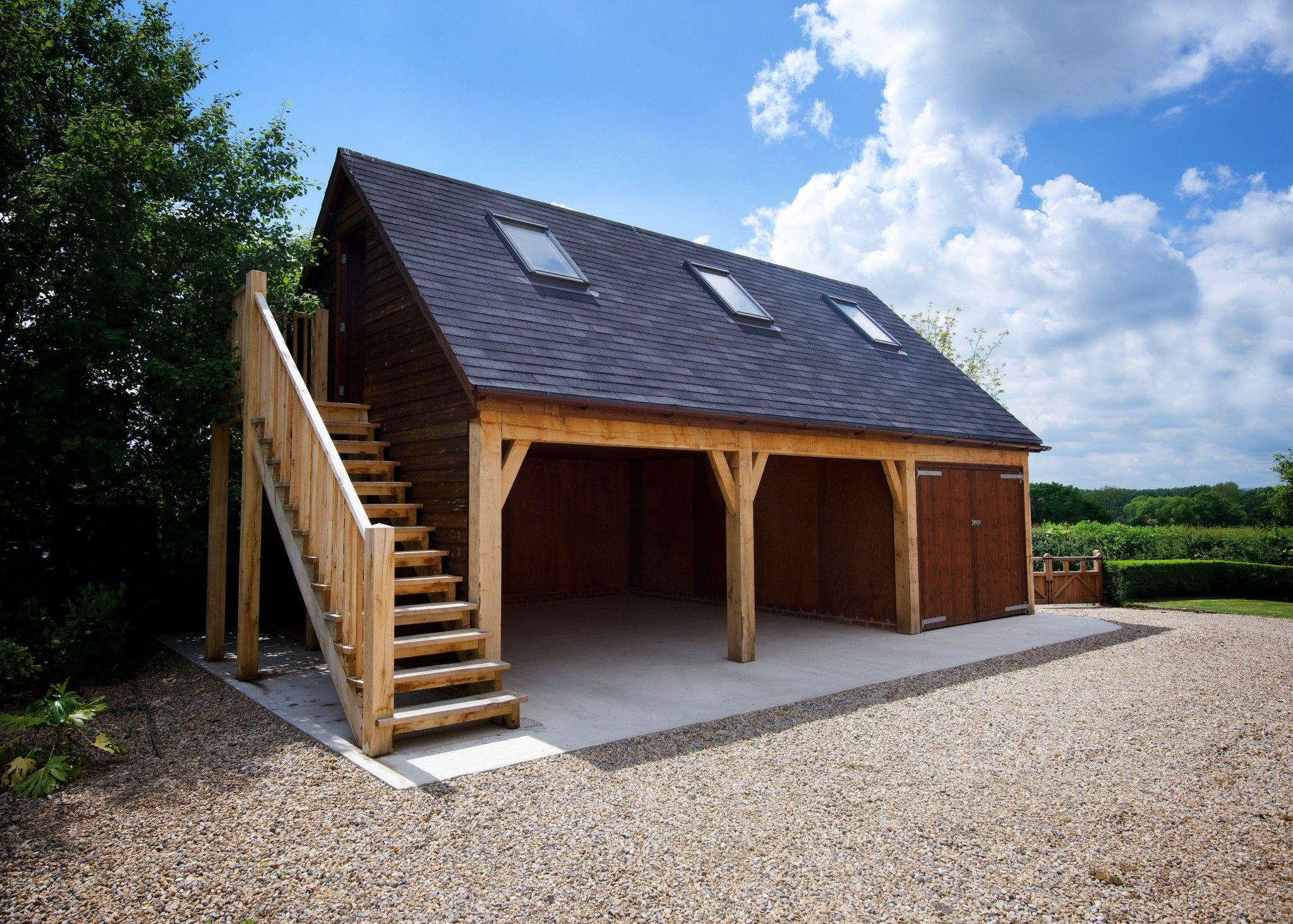 Discover How We Created A Bespoke Three Bay Timber Garage With An Additional Storage Room Above In 2020 Timber Garage Carport Designs Garage Guest House