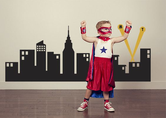 Superhero City Wall Decal So Cute For A Boys Bedroom - Superhero wall decals for kids roomssuperhero wall decal etsy