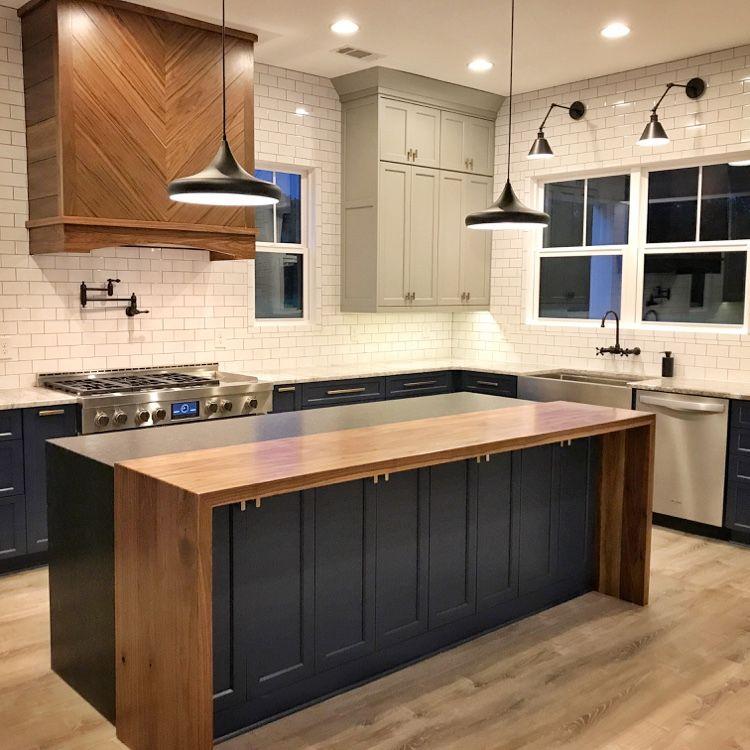 Wood And Granite Waterfall Top Island Wood Top Island Kitchen Kitchen Room Design Black Kitchen Island Kitchen island with wood top