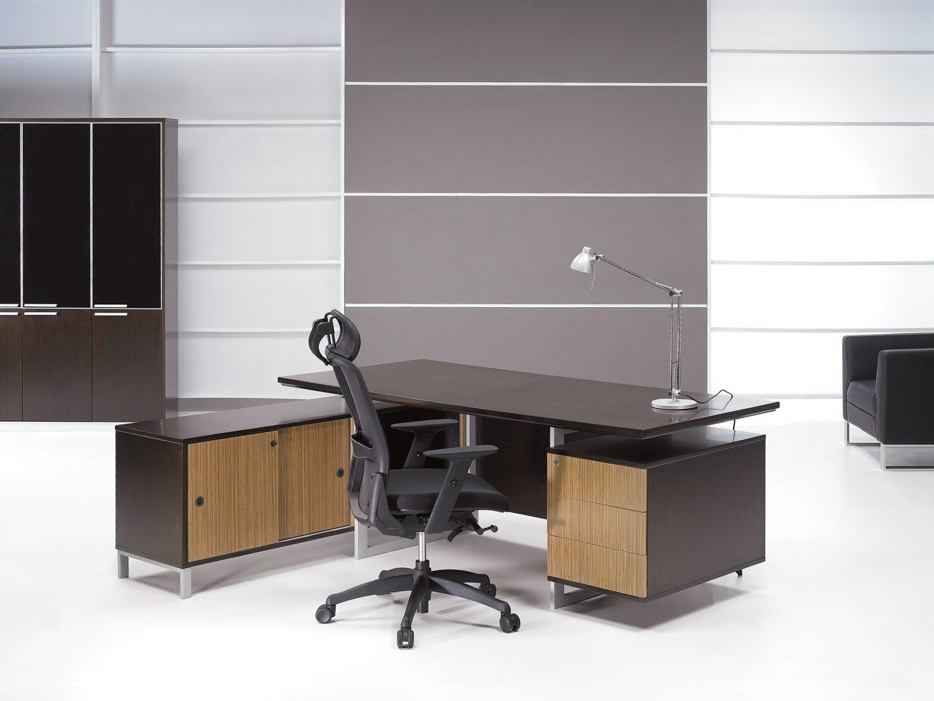Modern Office L Desk Furniture with Storage Adding Executive Office Chair  and Light Lamp Table Also