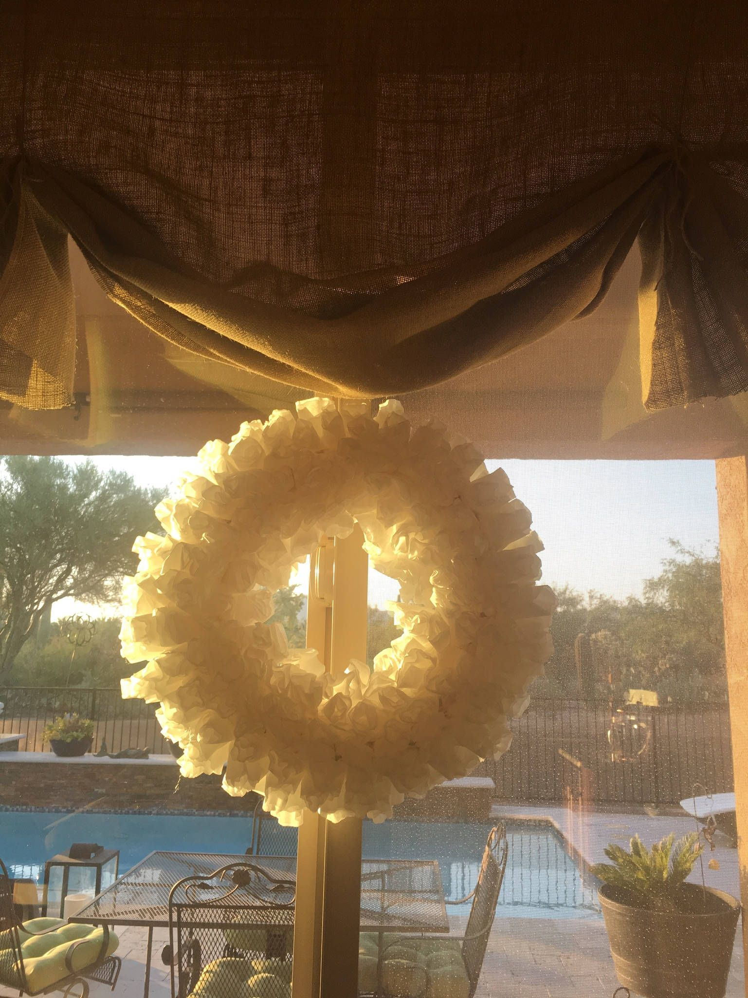 Farmhouse White Coffee Filter Wreath By Missnmoz On Etsy