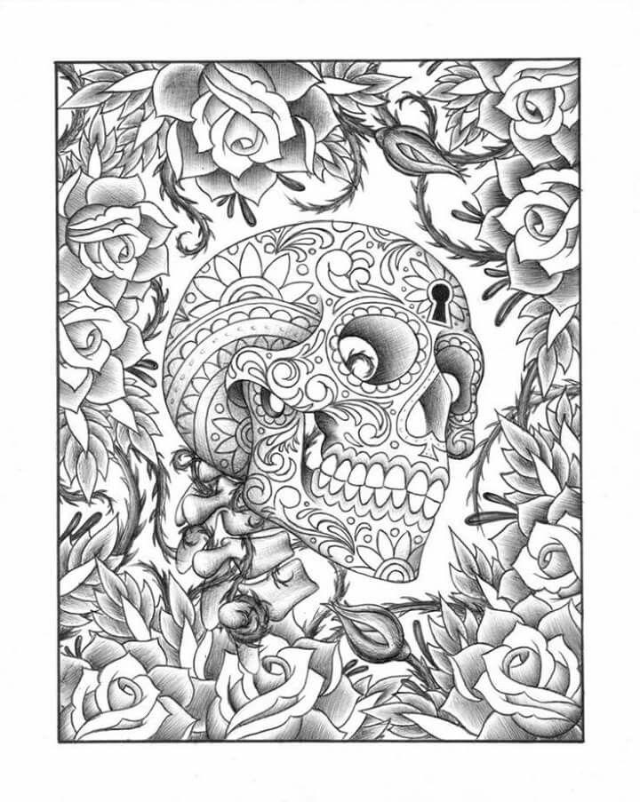 sugarskull roses skull coloring pagescoloring