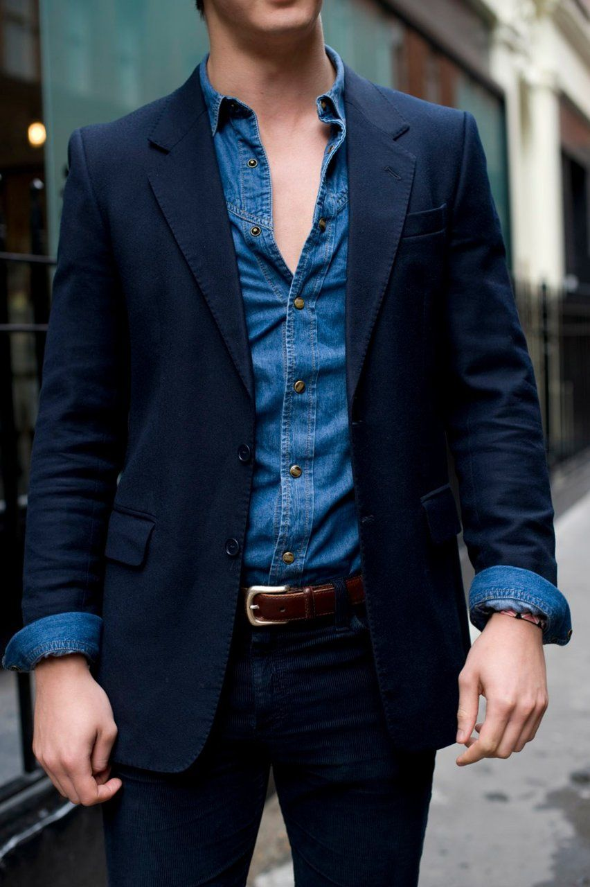 Perfect suit and denim shirt. (loving the contrast of the western-style shirt with snaps against ...