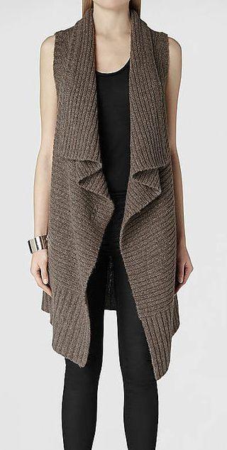 Brown Cardigan Sweater Vest   Leggings | fashion | Pinterest ...