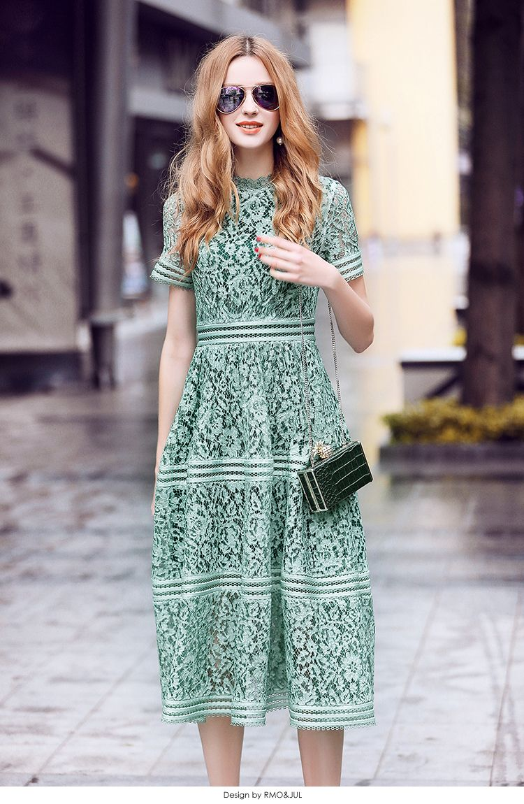 608688d4702fe Fairy Dreams Women Elegant Dress Green Lace Summer Midi Dresses 2017 ...