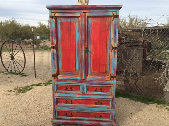 SOLD--Wood distressed armoire, turquoise & red armoire, hand ...