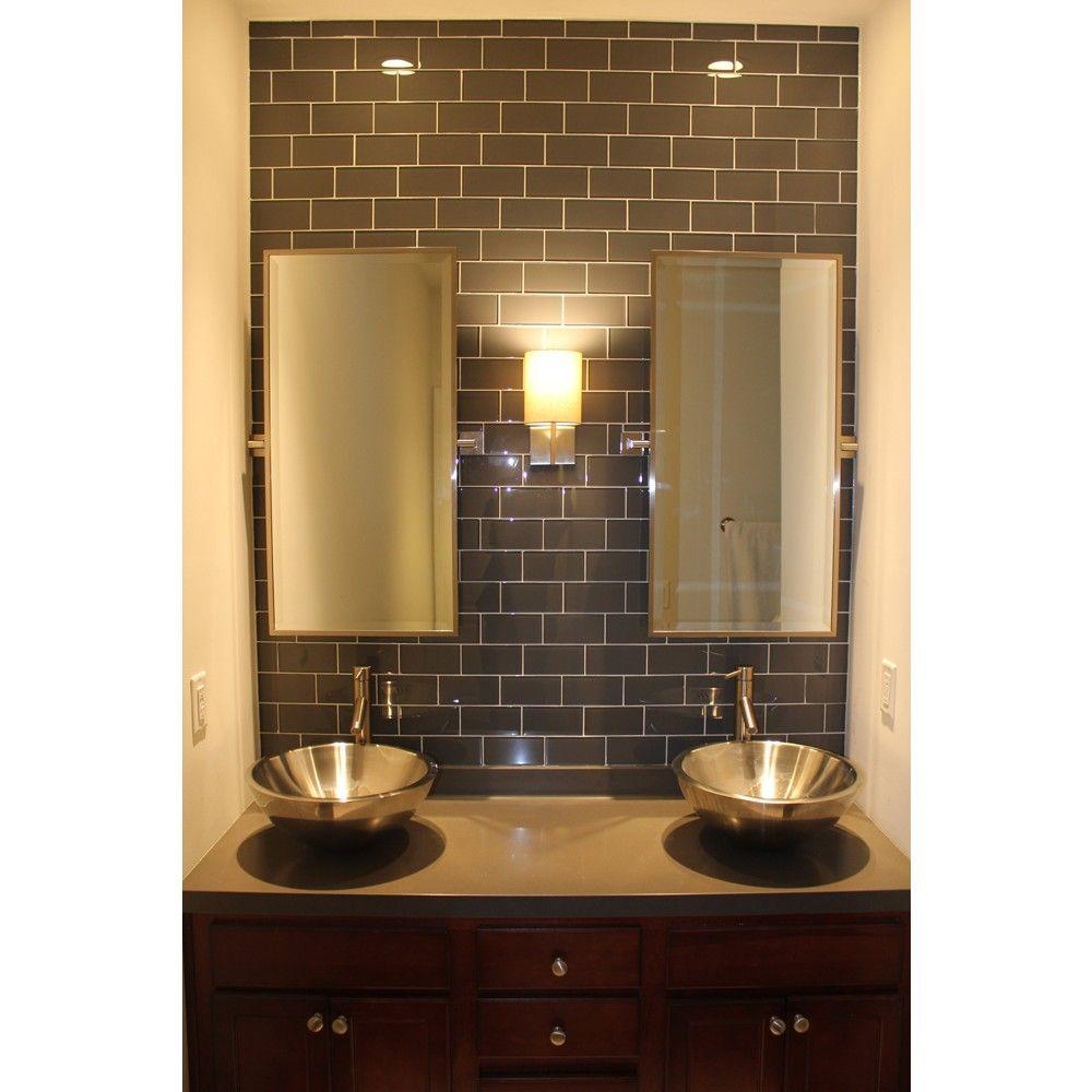 Polish Bathroom Tile: Loft Ash Gray 3x6 Polished Glass Tile
