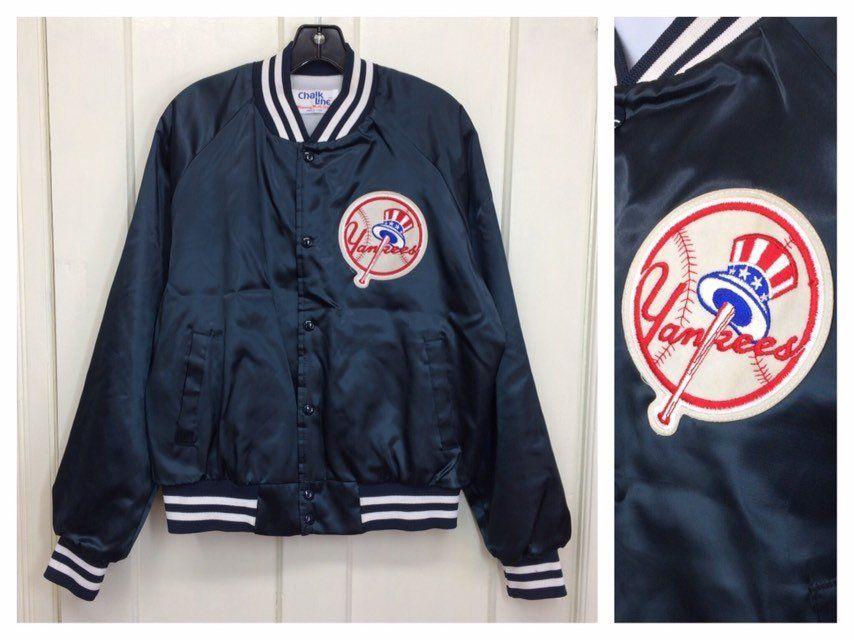 9b35dcfbd 1980s New York Yankees baseball team satin bomber Chalkline jacket ...