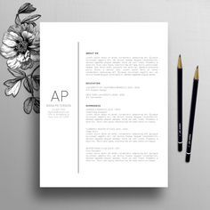 Professional Resume Template, Cover Letter Template, References, Creative Resume Template, Teacher Resume, Instant Digital Download, Alexand