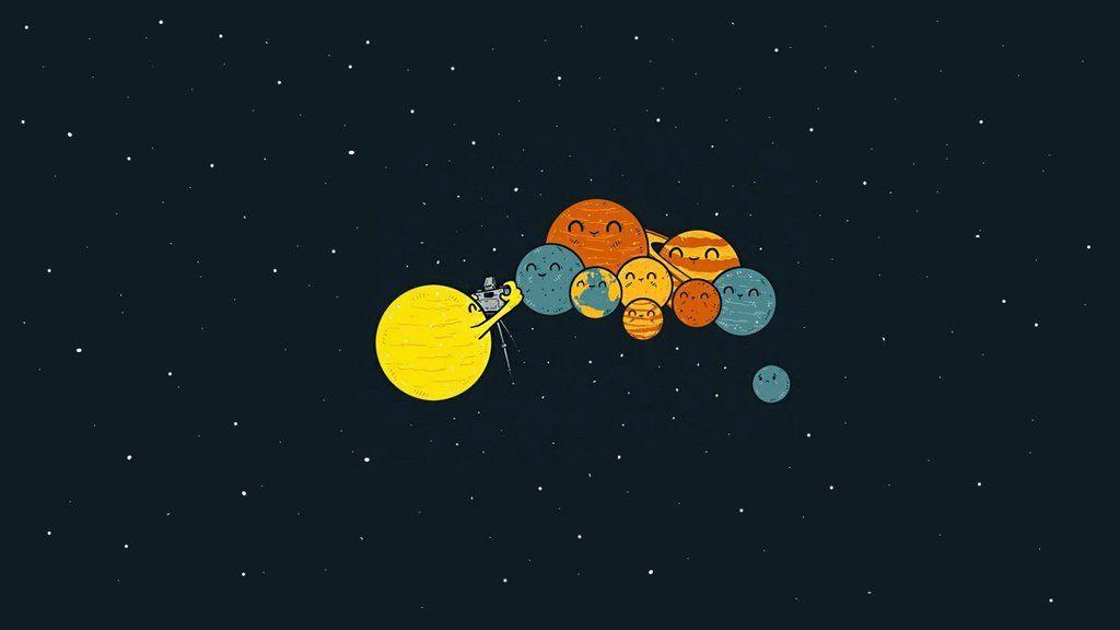 Poor Pluto ( Cute illustration, Solar system wallpaper