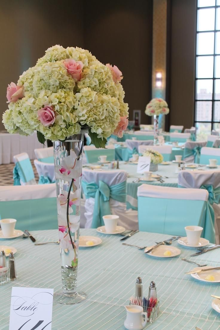 Superior Fresh Beautiful Wedding Table Centerpieces Pink Rose Hydrangea Flower  Arrangement Floating Orchids Glass Vase Blue Stripe Table Cloth Table  Setting Ideas ...