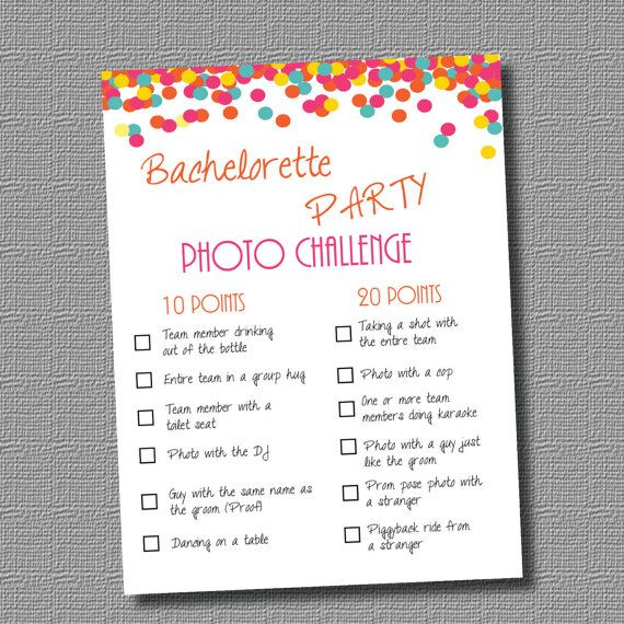 Instant Pdf Bachelorette Party Photo Challenge Bright Colors On