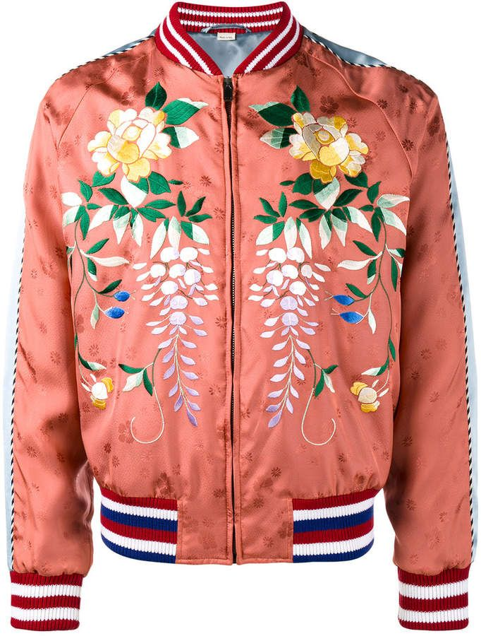 3f87b1b3f Gucci Orange Floral Embroidered bomber jacket | Nudie Cohn suits ...