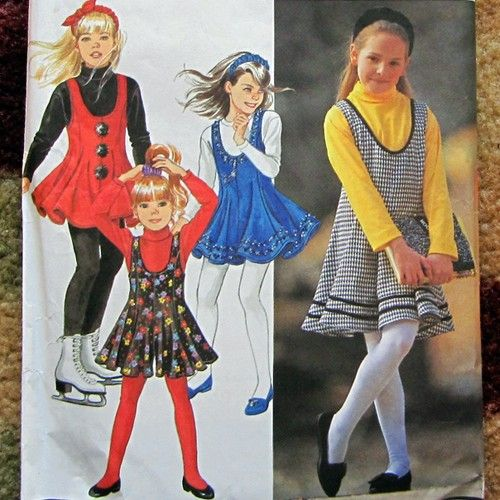 90s Girls Jumper, Dress, Top & Headband Sewing Pattern Simplicity ...