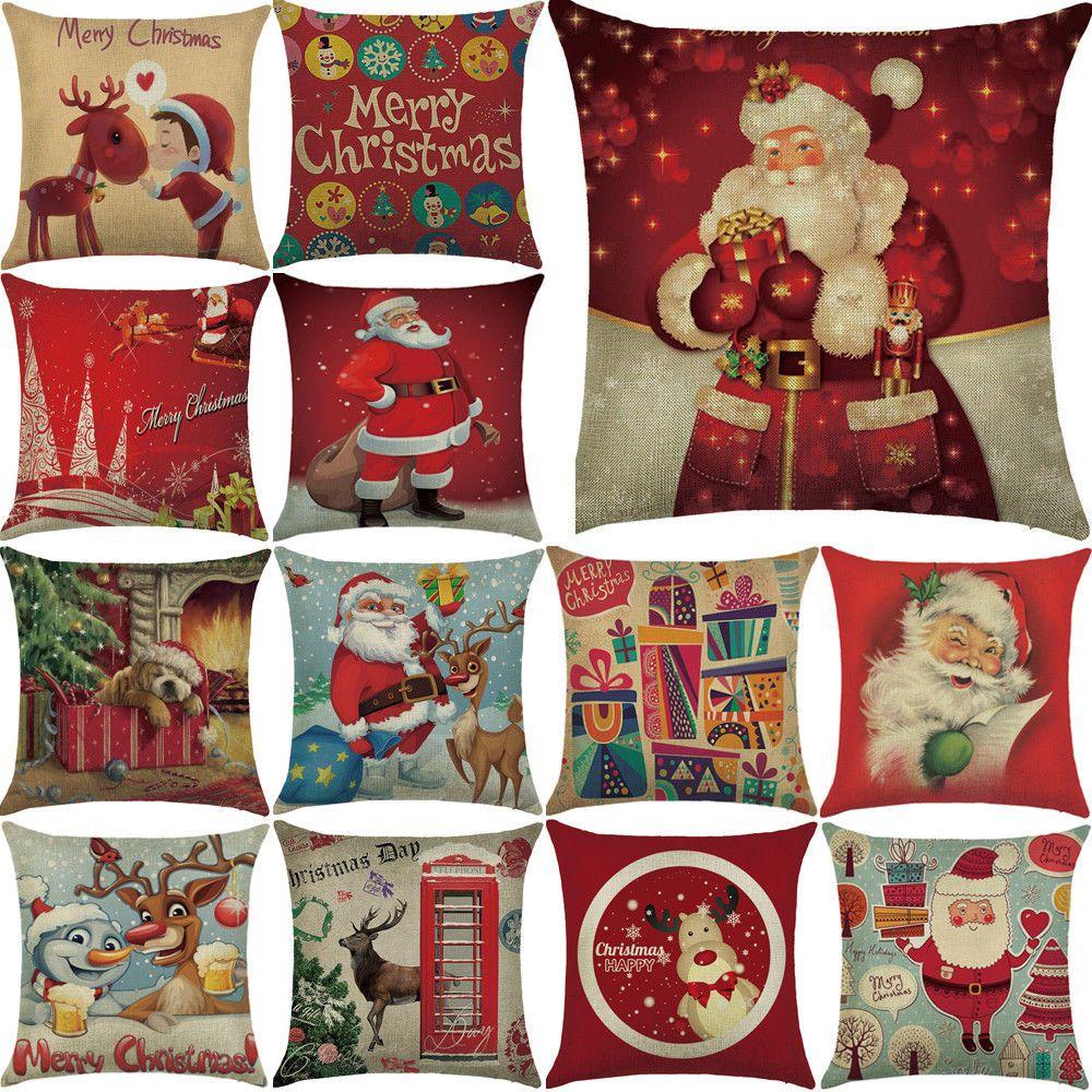 Linen Sofa Throw Pillow Cover Case Home Car Christmas Cushion Cotton Decor
