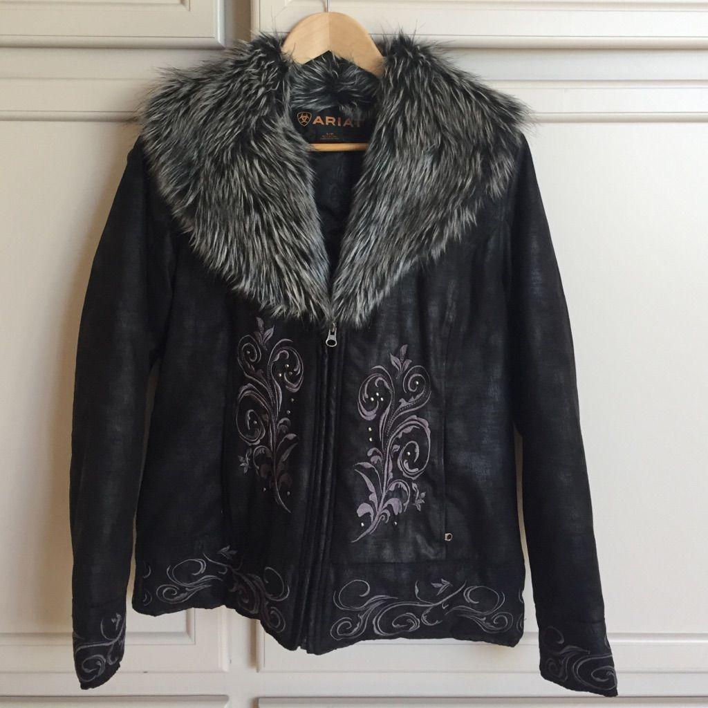 Ariat Black Suede Jacket With Fur Collar