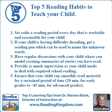 Top 5 Reading Habits To Teach Your Child Online Reading