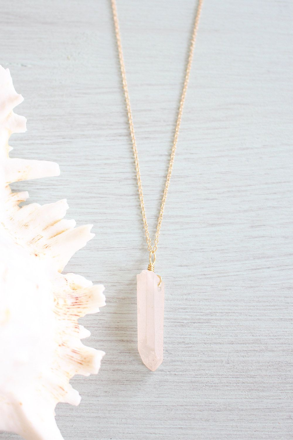 New to MoonTideJewellery on Etsy: Rose Quartz Necklace - Rose Quartz Spike Necklace - Rose Quartz Point Necklace - Pink Rose Quartz Necklace - Large Pink Crystal Necklace B1 (14.99 GBP)
