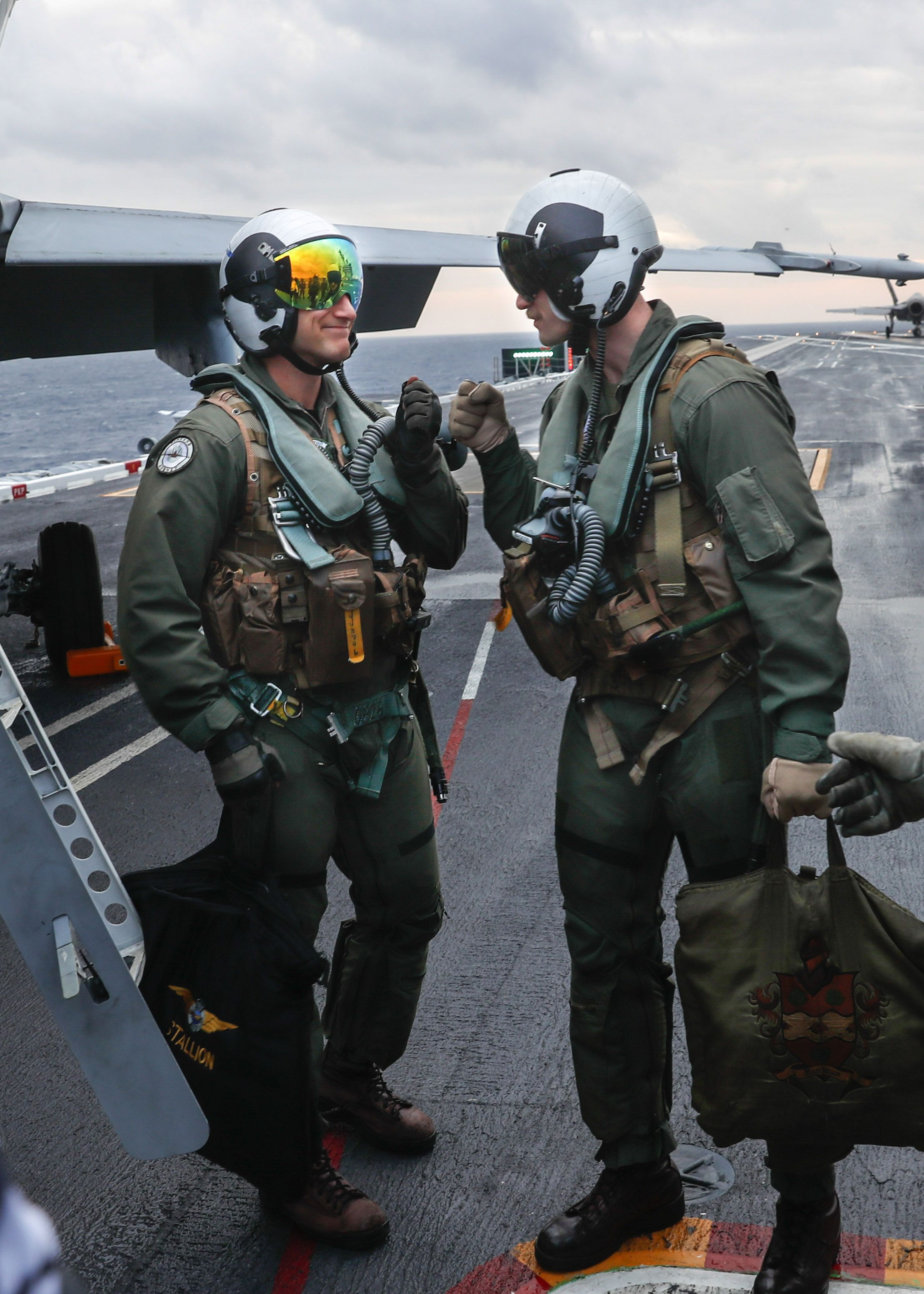 Finnish air force capt juha jarvinen being congratulated