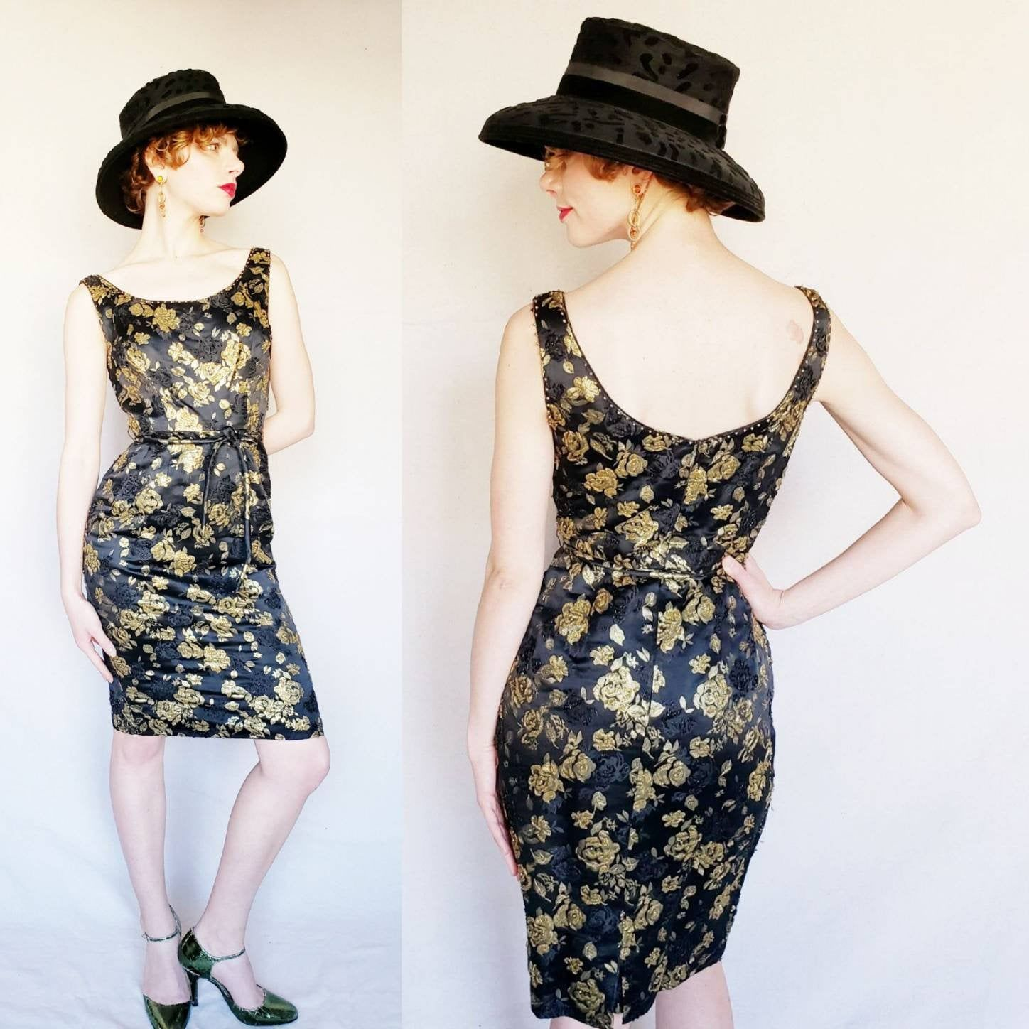 1960s Black Gold Brocade Beaded Cocktail Dress 60s Sleeveless Wiggle Party Dress Ornate Floral Print Small Dresses Beaded Cocktail Dress Trending Outfits [ 1448 x 1448 Pixel ]