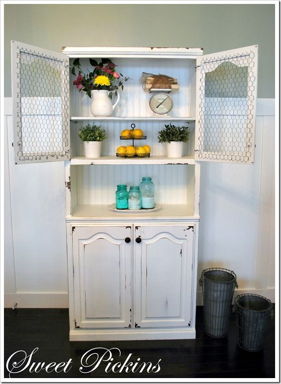 Distressing With Vaseline And Cabinet Sers Decorating Distressed Furniture White Hutch Kitchen