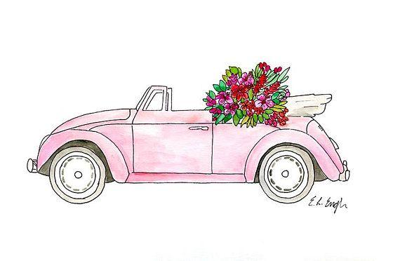 Pink Watercolor Car Original Watercolor Illustration Car