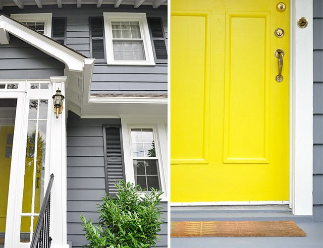 Slate grey charcoal grey shutters bright white trim - Gray house yellow door ...