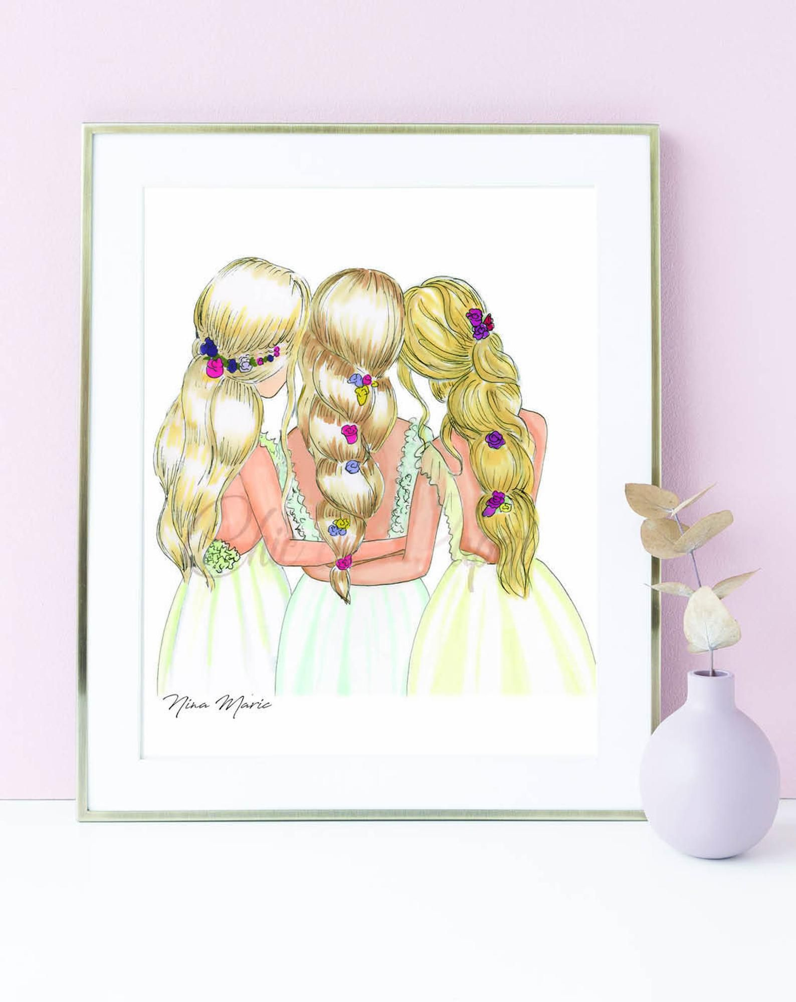 3 Best Friends Drawing : friends, drawing, Three, Friends, Fashion, Illustration, Print, Blonde, Print,, Fashion,, Drawings