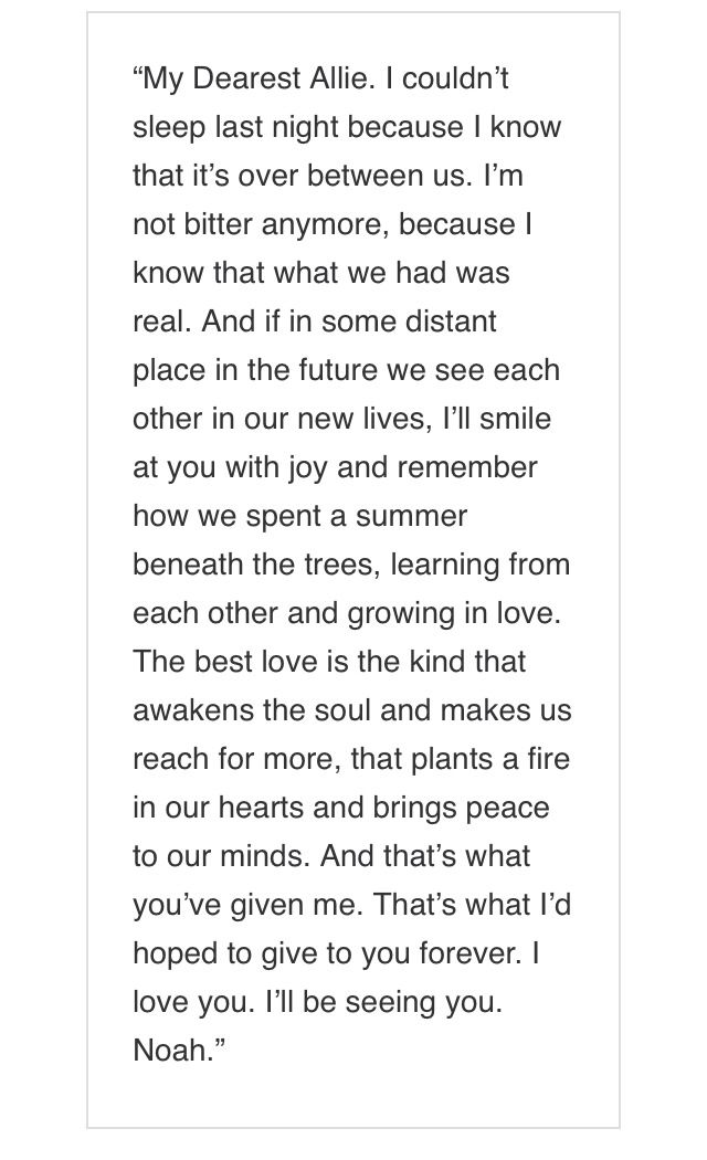My favorite goodbye love letter the notebook Media Pinterest