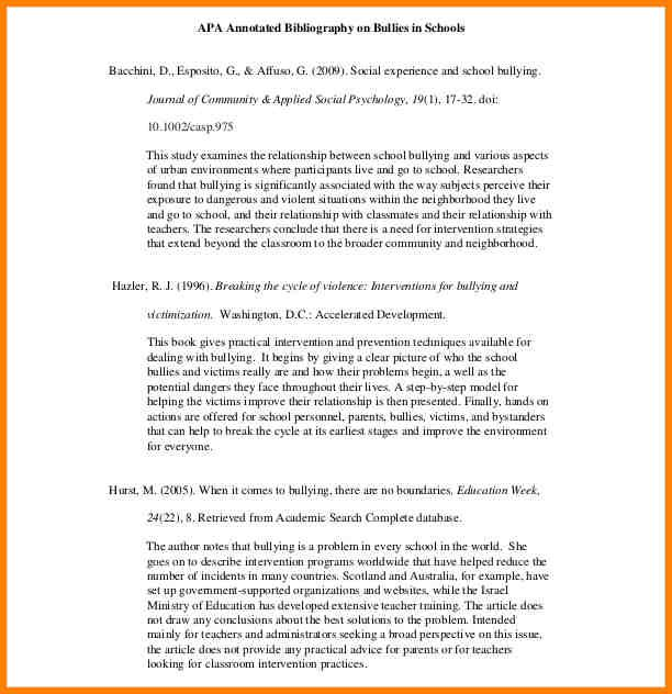 Annotated Bibliography Template Apa template Annotated