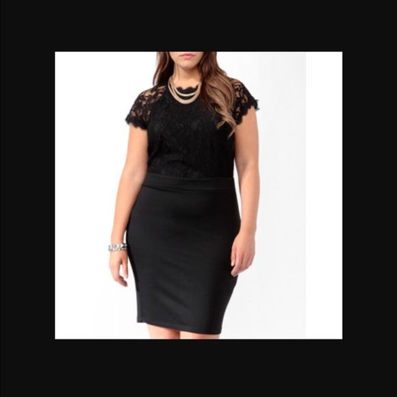 F21 Plus Size Lace Pencil Dress Gorgeous dress! Sold out everywhere!!! Lace top and stretchy body con bottom! Forever 21 Dresses