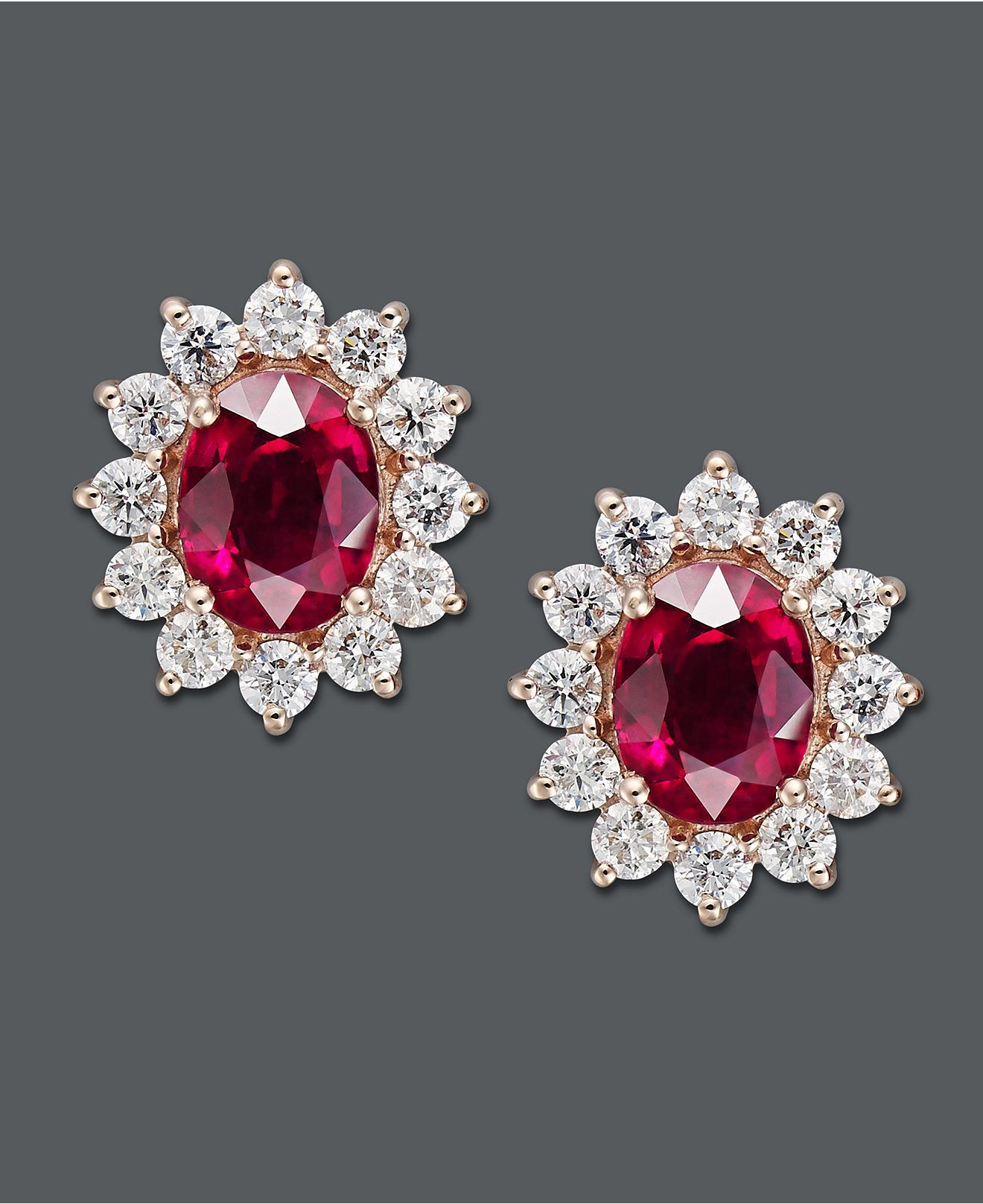 b2e77e6d8 Effy Collection 14k Gold Earrings, Ruby and Diamond Oval Stud Earrings